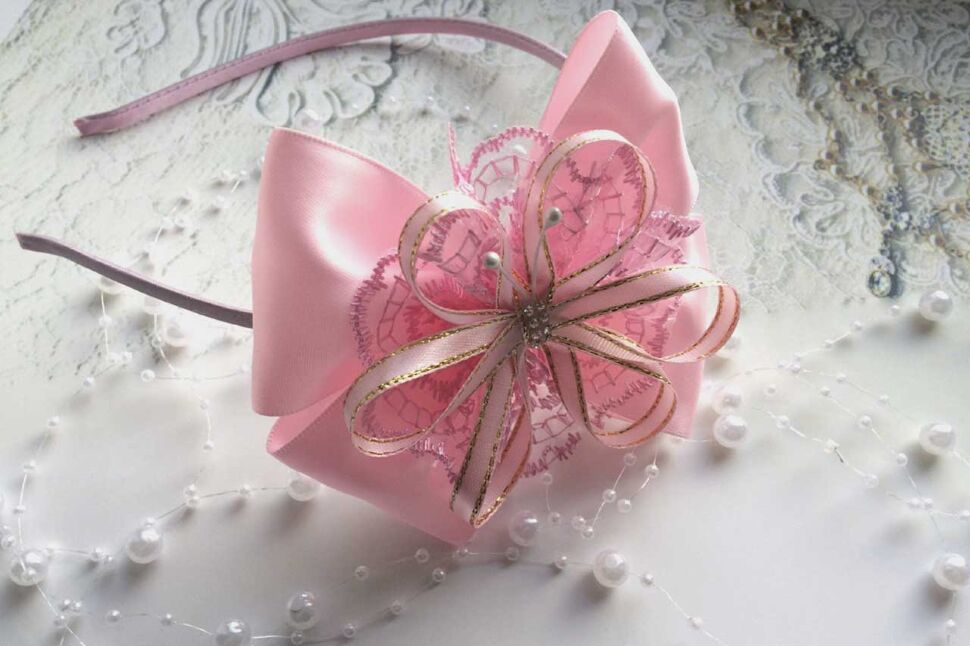 Ободок Венеция розовый